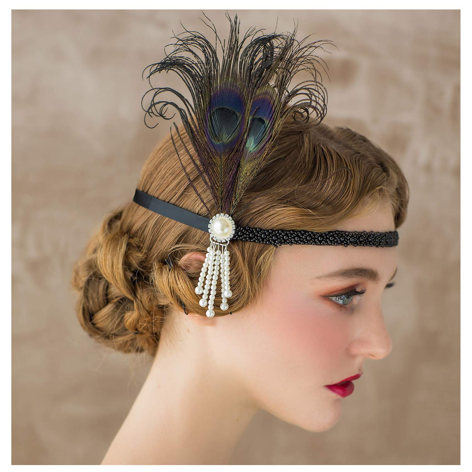Floral Design, Vintage style Sequin and Pearl Hairband in a 1920s style