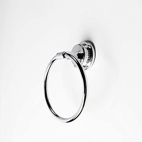 ABS Towel Holder Chrome Finish Wall Mounted Ring Bathroom Shower Suction Cup