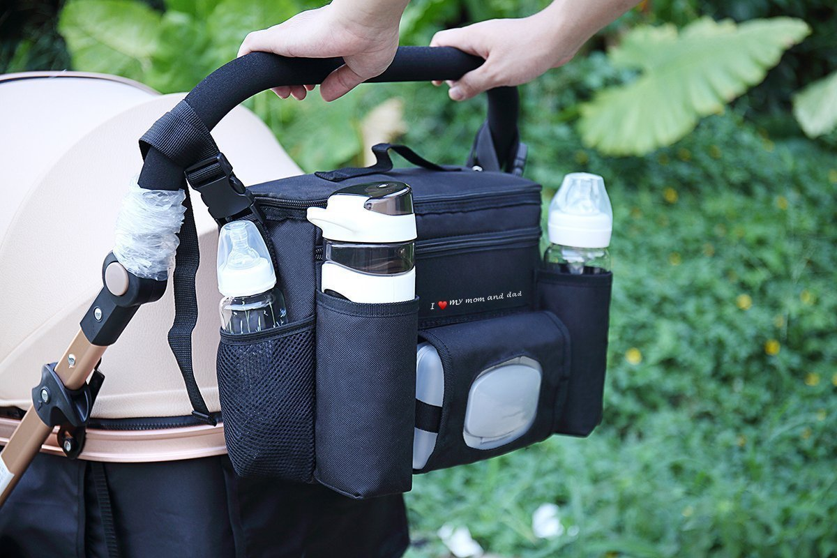 FamCare Premium Stroller Organizer Universal Fit w/Insulated Cup Holders, Wipes Pocket, Zipper and Shoulder Strap - XLarge Storage Space for Phone, Diapers & Toys - The Perfect Baby Shower Gift! by FamCare (Image #4)