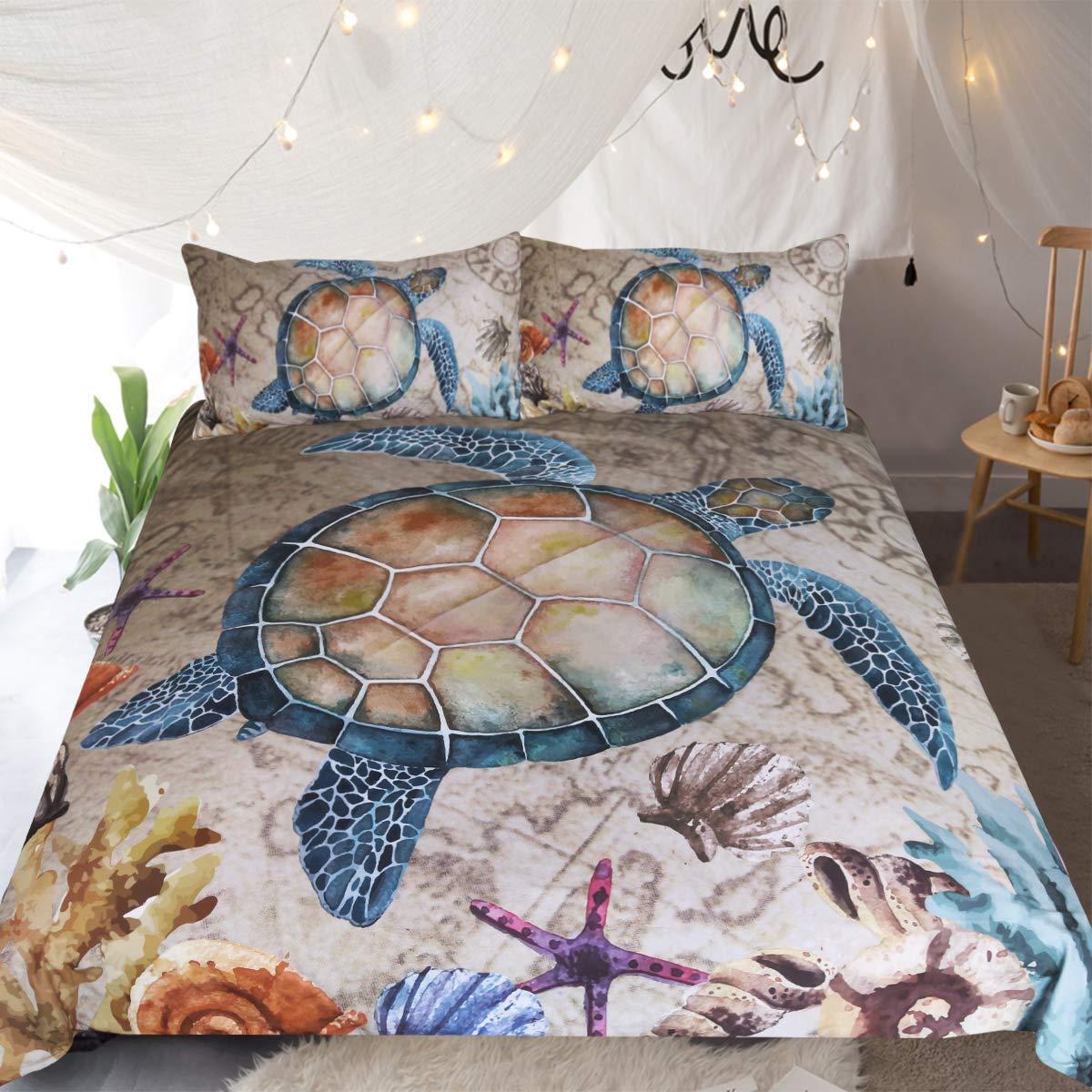 Sleepwish Blue Sea Turtle Nautical Map Bedding Twin 3 Pieces Vintage Honu Turtle Duvet Cover Marine Treasures Ivory Bedspread