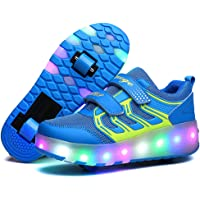 Zapatillas de LED, Zapatillas de Patines con Ruedas LED Light-UP, para Unisex Niños Niñas, USB Recargable, Ruedas Dobles…