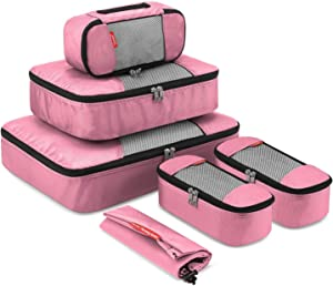 Gonex 6 Set Travel Packing Cubes, Luggage Packing Organizer Set for Bag & Suitcase With Laundry Bag Pink