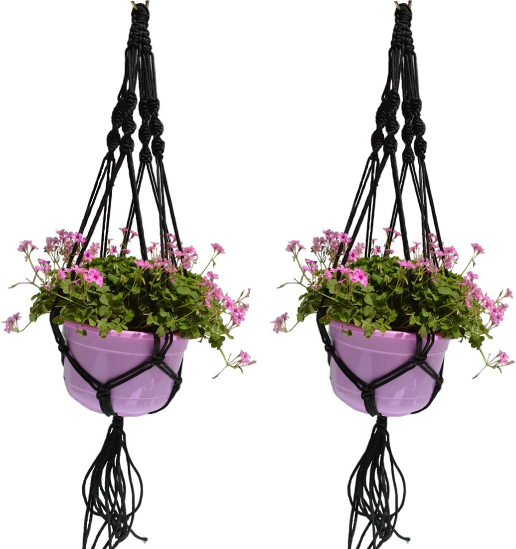 ZJCilected 2 Pack Plant Hanger Macrame Jute with Hoop for Indoor Outdoor Balcony Ceiling Patio Deck Round and Square Pots, 4 Legs, 39.4 Inch Black