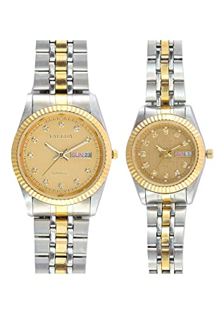 Faleda Gold P6105ttg-Day-Date Multicolor Analog Formal For Couple