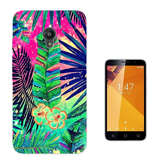 003817 - Tropical Flowers Leaf Illustration Design Vodafone Smart Turbo 7 Fashion Trend CASE Gel Rubber