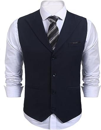 Coofandy Mens V-Neck Slim Fit Dress Suit Sleeveless Vest Waistcoat