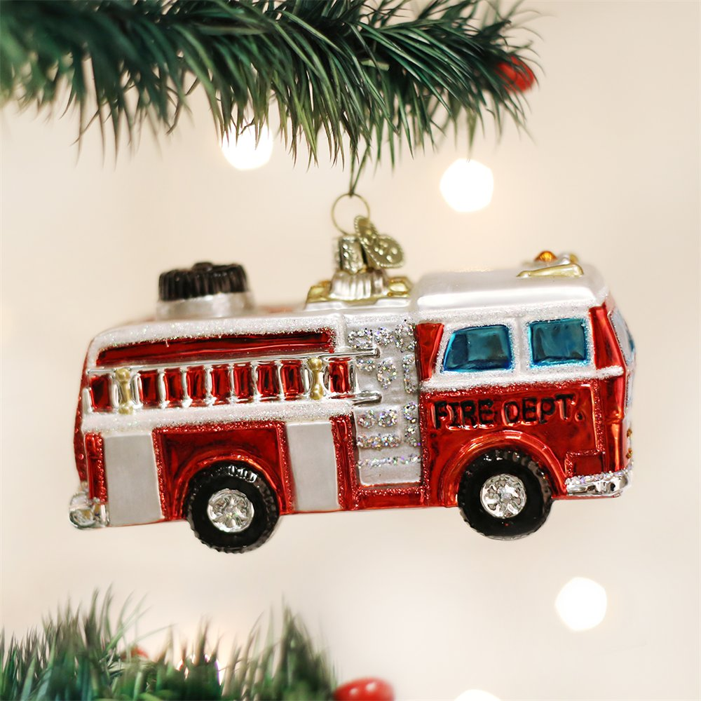 Fire Truck Old World Christmas Firefighter Gear Glass Blown Ornament