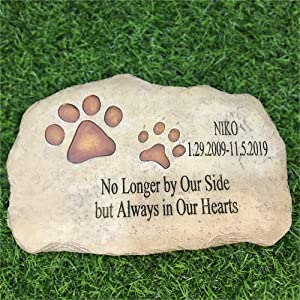 somiss Pet Memorial Stones,Personalized Dog Memorial Stones All Content is Customizable, Pet's Name & Born Passed Dates & One Sentence, Paw Prints Pet Loss Gift