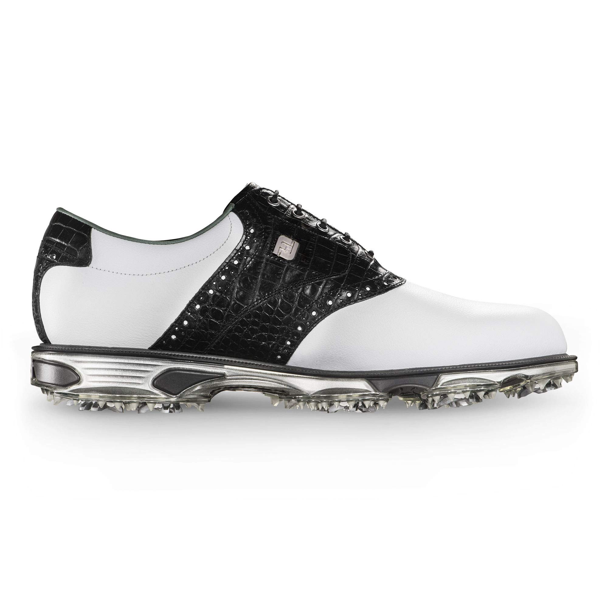 FootJoy Men's DryJoys Tour Golf Shoes White 10.5 XW Black Croc Print, US by FootJoy
