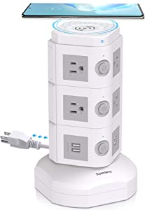 SUPERDANNY Surge Protector Tower with 10W Wireless Charger, Spin Power Strip 13A Vertical Charging Station with 10 AC Outlets+4 USB Slots and 6.5ft Extension Cord for Home Office Garage, White+Grey