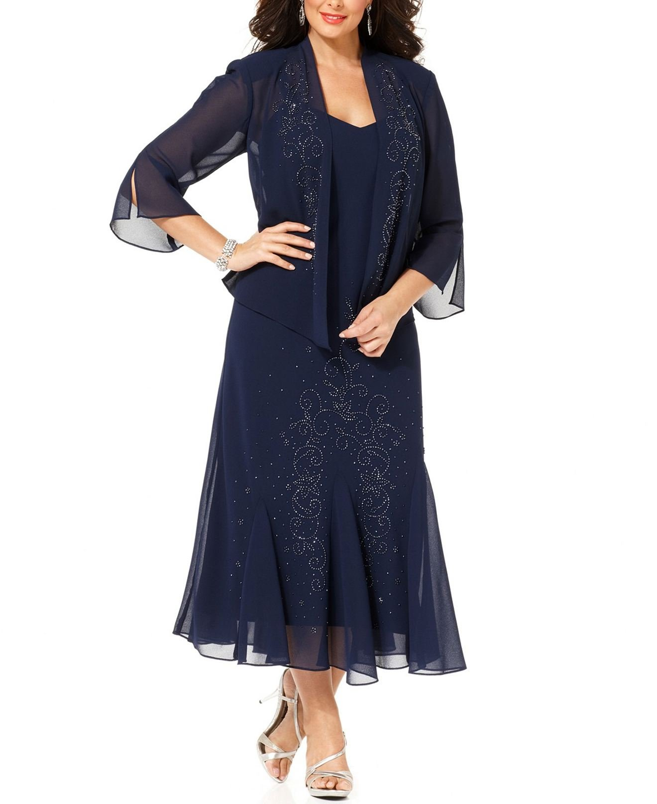 R&M Richards Women's Plus Size Beaded Jacket Dress - Mother of the Bride Dresses (30W, NAVY) by R&M Richards