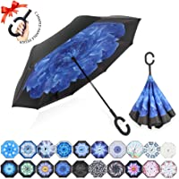 ZOMAKE Windproof Reverse Folding Double Layer Inverted Umbrella with C shape Handle, Self Standing, Inside Out, Hand Free, Variety colors