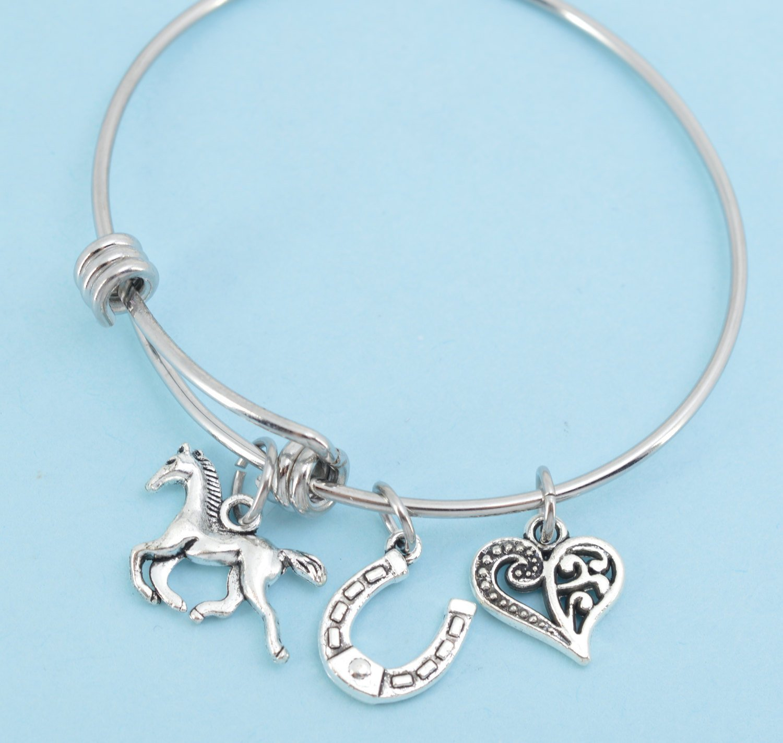 Little Girls Horse Bangle Bracelet in stainless steel. Little girls jewelry. Little girls bracelet. Horse gifts. Horseshoe.