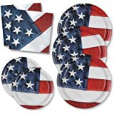 Patriotic Party Pack for 50 Guests; 50 Patriotic Dinner Plates, 50 Patriotic Dessert Plates and 100 Patriotic Luncheon Napkins.