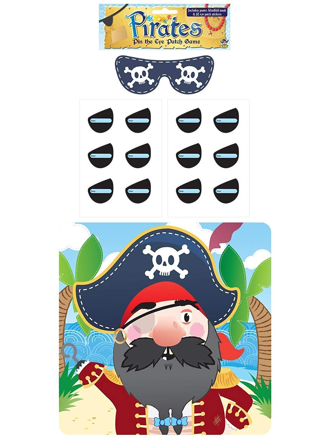 Henbrandt Stick The Eye Patch On The Pirate Game - Party Childrens Kids Pin Tail Activity