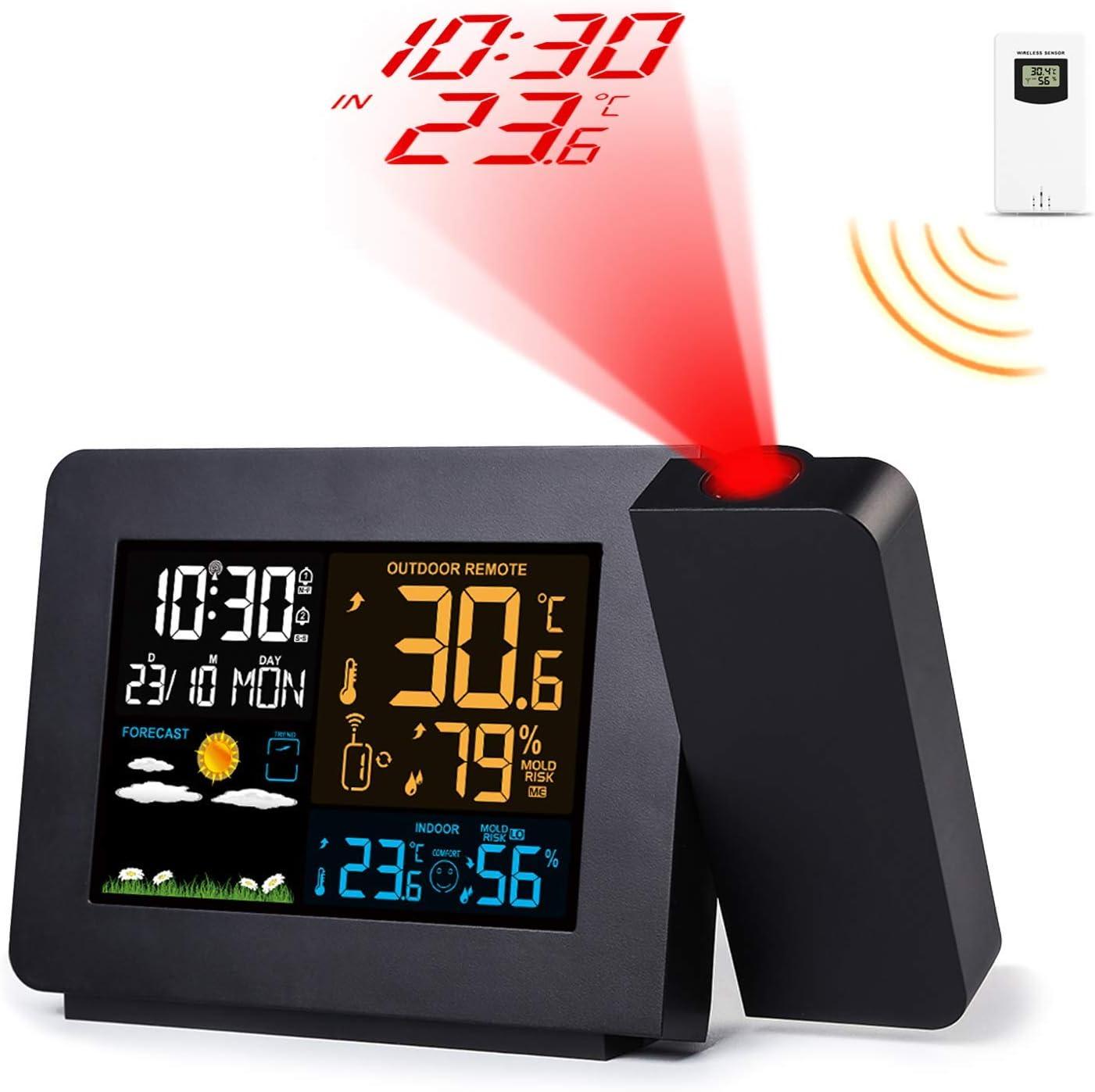 Febelle Despertador Digital Estación meteorológica inalámbrica Alarma de proyección Relojes atómicos con Sensor Remoto para Temperatura y Humedad