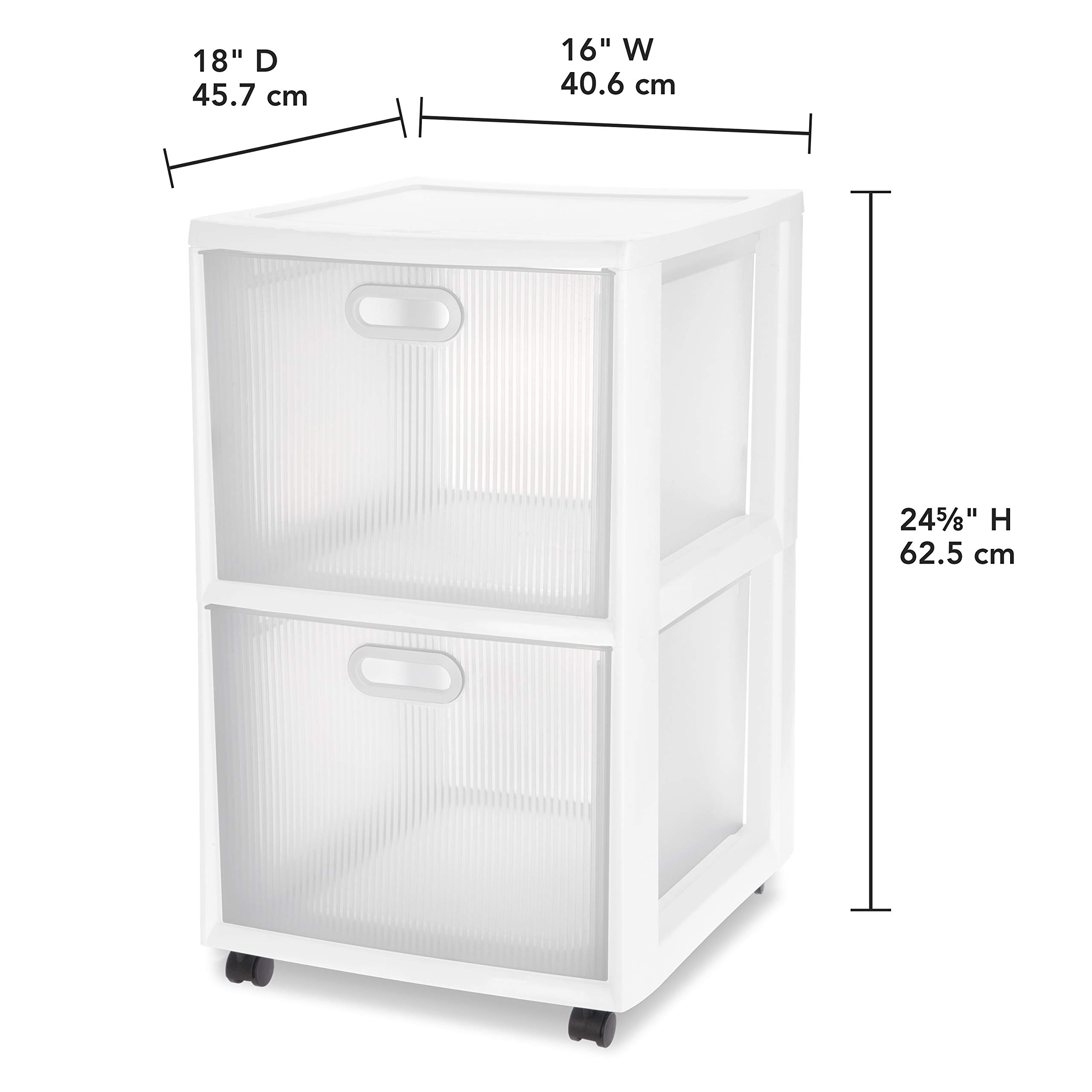 Sterilite 36208002 Ultra 2 Drawer Cart, White Frame & Clear Textured Drawers w/ Handles &  Black Casters, 2-Pack by STERILITE (Image #3)