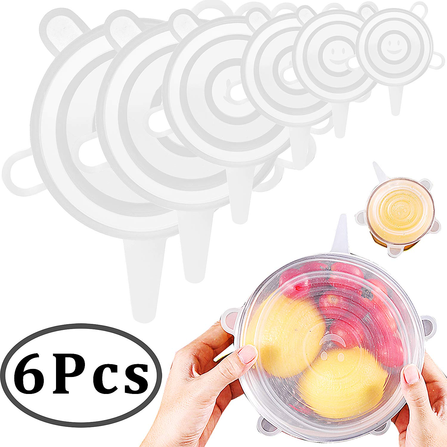 Outee Silicone Stretch Lids 6 Pack Silicone Bowl Lids Suction Food Saver Covers for Bowls Pot Cup with Drawstring Bag, Assorted Size BPA Free, Dishwasher, Microwave, Oven and Freezer Safe
