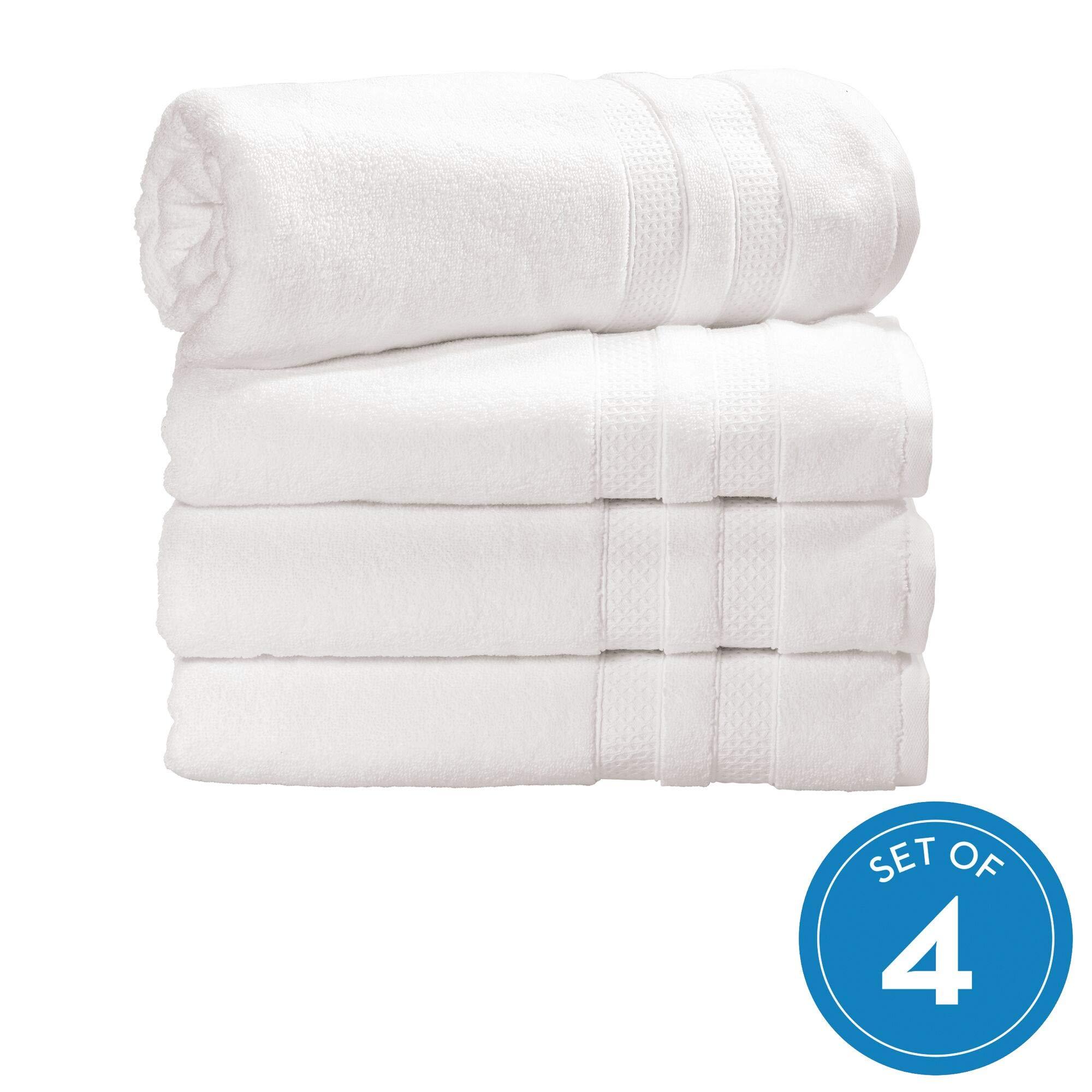 iDesign Spa Bath Hanging Loop, 100% Cotton Soft Absorbent Machine Washable Body Towel for Bathroom, Gym, Shower, Tub, Pool, Set of 4, White