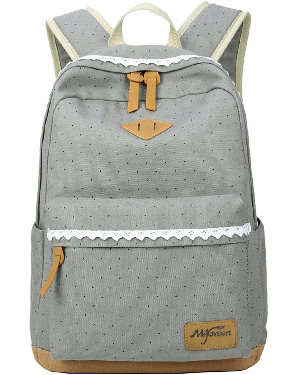 Mygreen Casual Dot 14 Inch Laptop Backpacks Kawaii Girls Canvas Portable School Backpack Grey