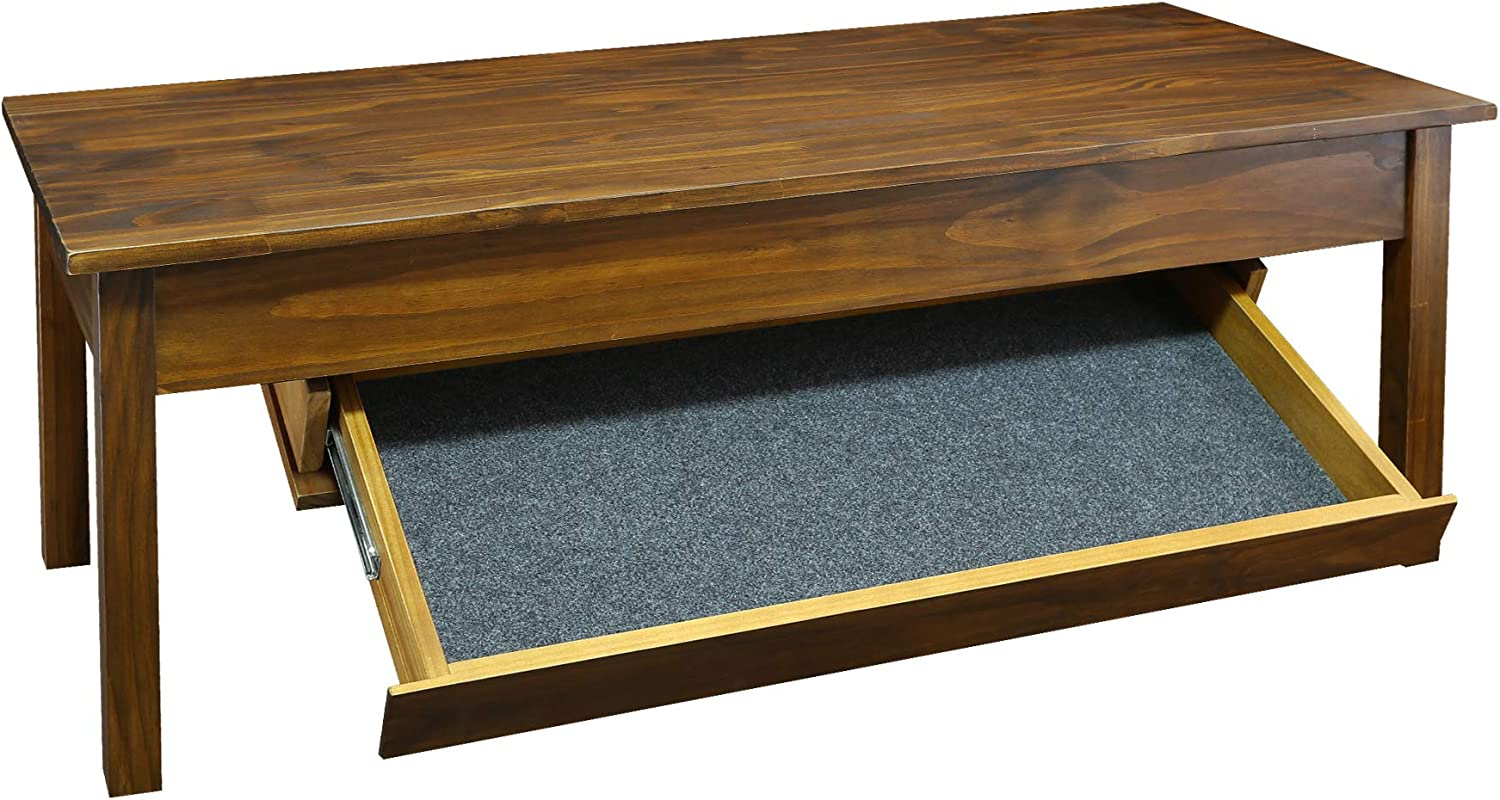 Casual Home Kennedy Coffee Table Drawer, Concealment Furniture, Warm Brown