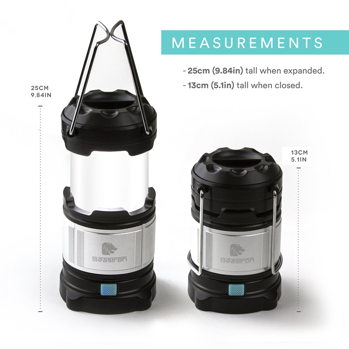 BEASTRON Rechargeable LED Camping Lantern – Water Resistant – Portable Collapsible Design for Hiking, Camping, Emergencies, Hurricanes, Outages