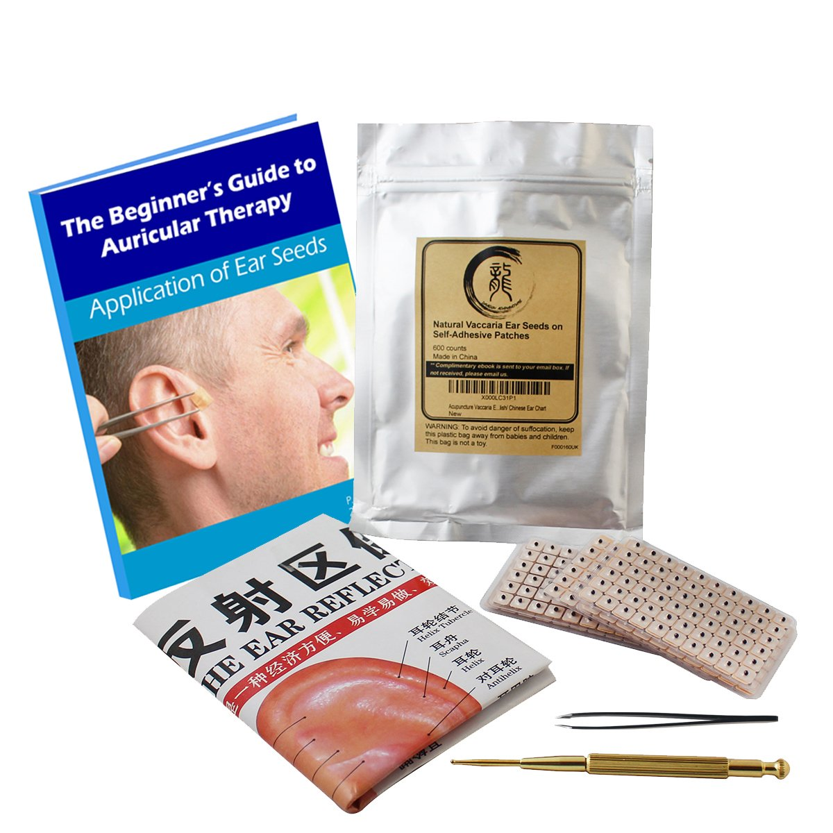 Multi-Condition Ear Seed Acupressure Kit 600 counts, eBook Placement Chart, Probe, Acupuncture Ear Chart, Tweezers by Dragon Acupuncture