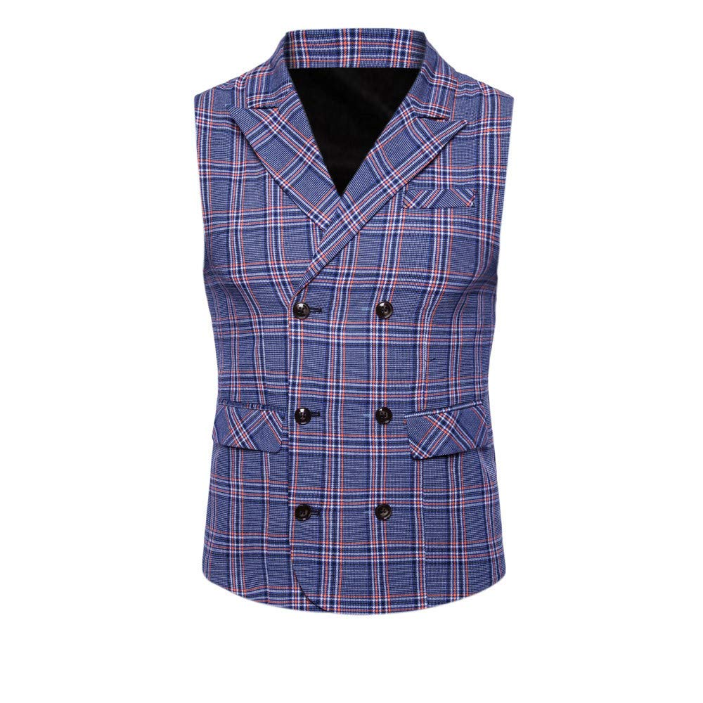 SMALLE ◕‿◕ Clearance,Men Plaid Casual Printed Sleeveless Jacket Coat British Suit Vest Blouse