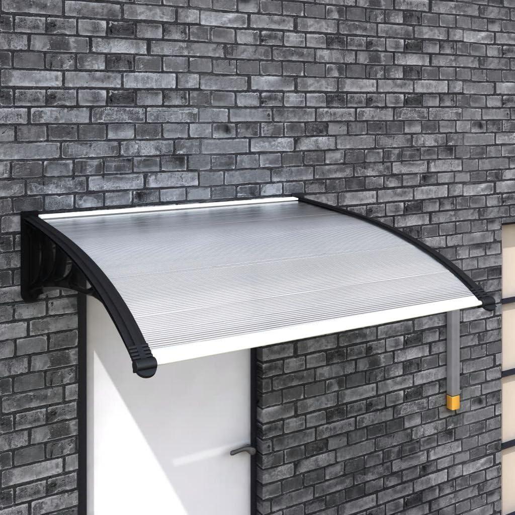 vidaXL Marquesina para Puerta de Aluminio Plateado 120x100 cm Techado Entrada