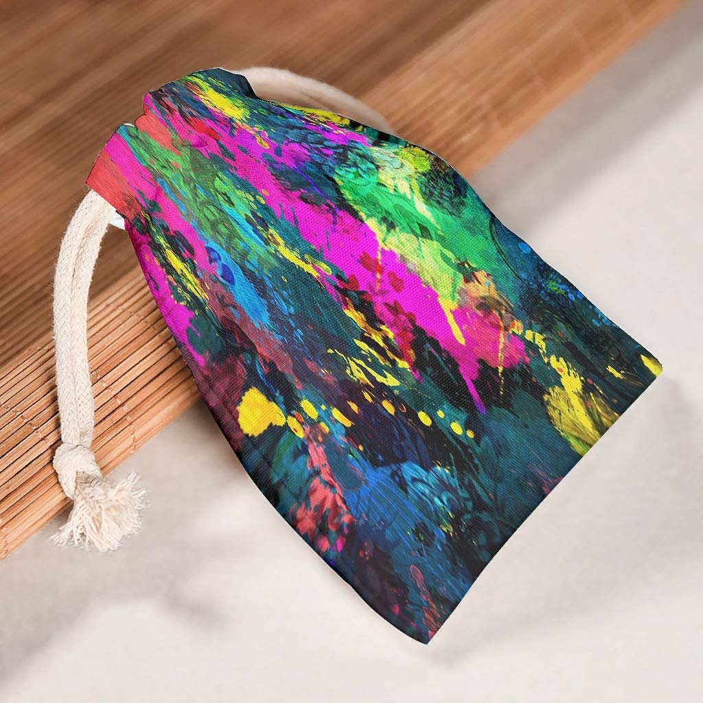 weedlishop Colorful Painting Cotton Storage Bag Double Drawstring Snack Home Reusable FabricTravel Tea Bag Breathable Multipurpose White 1218cm