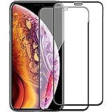 iPhone XS ガラスフイルム iPhone X 強化ガラス【2枚セット】最大硬度9H/高透過率/自動吸着/9DカーブLCD保護フィルムアンチコリジョン指紋保護/全面フルカバー 5.8インチ(黒)