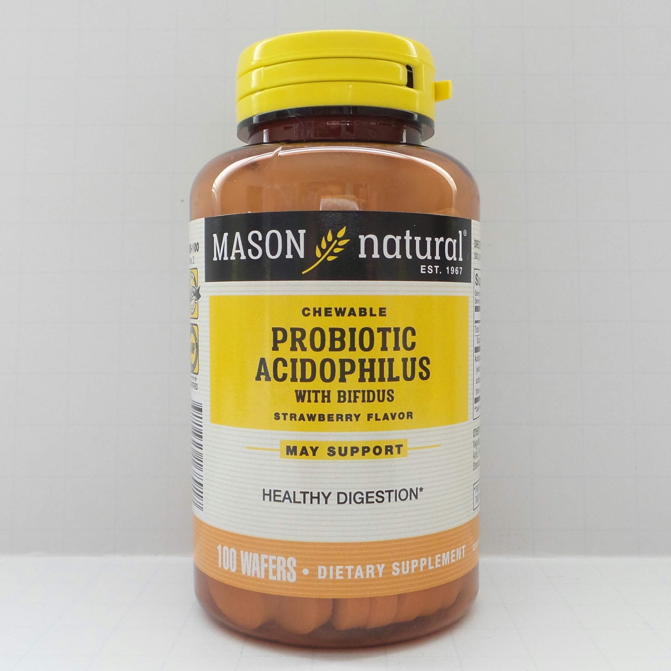 Mason Vitamins Acidophilus with Bifidus Chewable Wafers To Support Colon Health & Digestive Aid Strawberry Flavor 100 Wafers per Bottle