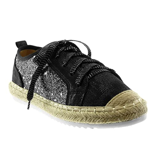 784f1b17fd7db Angkorly - Chaussure Mode Espadrille Baskets Sporty Chic Tennis bi-matière Femme  Paillettes Brillant Corde