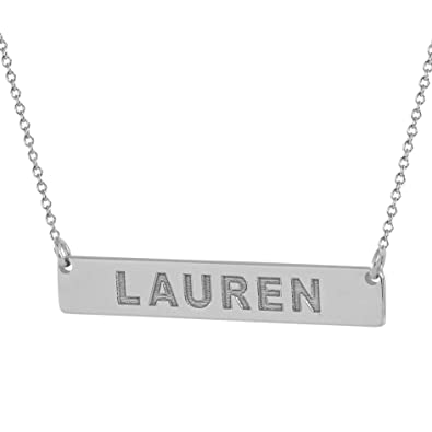 5f9945475 Amazon.com: Soul Jewelry 1 Inch Small Tiny Horizontal Bar Necklace Solid 14K  White Gold Deep Laser Engraved Any Name GC13 (15 Inches, White-Gold):  Jewelry