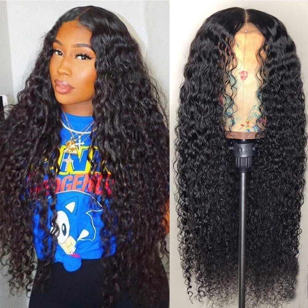 Maxine Hair Deep Curly Wave Human Hair Glueless Lace Front Wigs 130% Density Brazilian Virgin Remy Wigs with Adjustable Straps For Black Woman 24 inch Natural Color