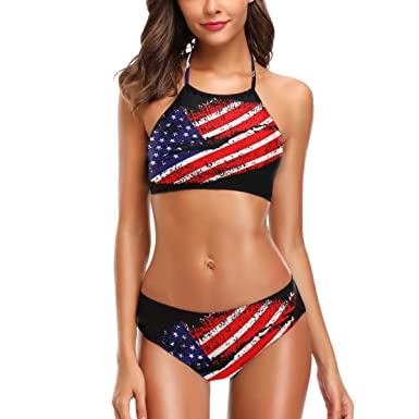 22159576d95a6 Amazon.com  Naanle USA Flag Lips Hot 2 Pcs Halter Black Swimsuit Bathing  Set for Woman Girls  Clothing