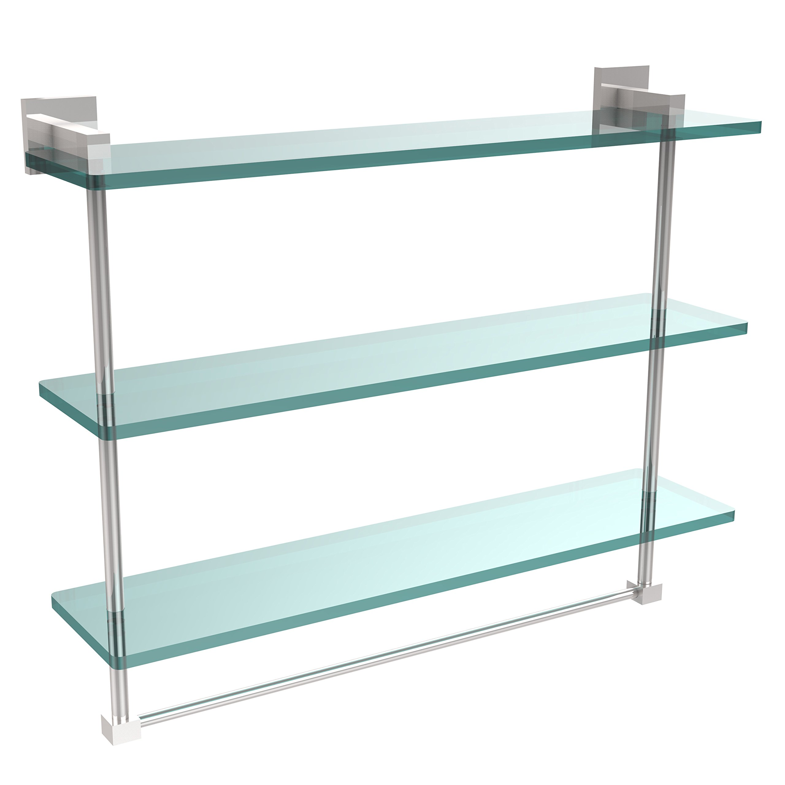 Allld|#Allied Brass MT-5-22TB-PC Montero Collection 22 Inch Triple Tiered Glass Shelf with Integrated Towel Bar,