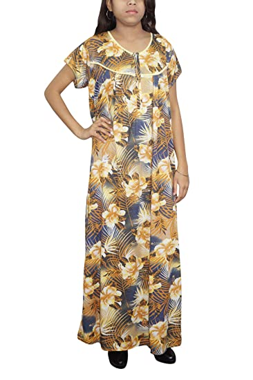 Indiatrendzs Womens Cotton Sleepwear Nighty Long Printed Maxi Blue Yellow  Gown XL  Amazon.in  Clothing   Accessories 10eea5318