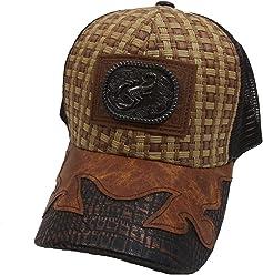 431563133a8 USA Headwear Straw Woven Scorpion Patched Mesh Western Style Khaki Brown  Baseball Cap