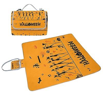 COOSUN Halloween Motif couverture de pique-nique Sac pratique Tapis résistant aux moisissures et étanche Tapis de camping pour les pique-niques, les plages, randonnée, Voyage, Rving et sorties