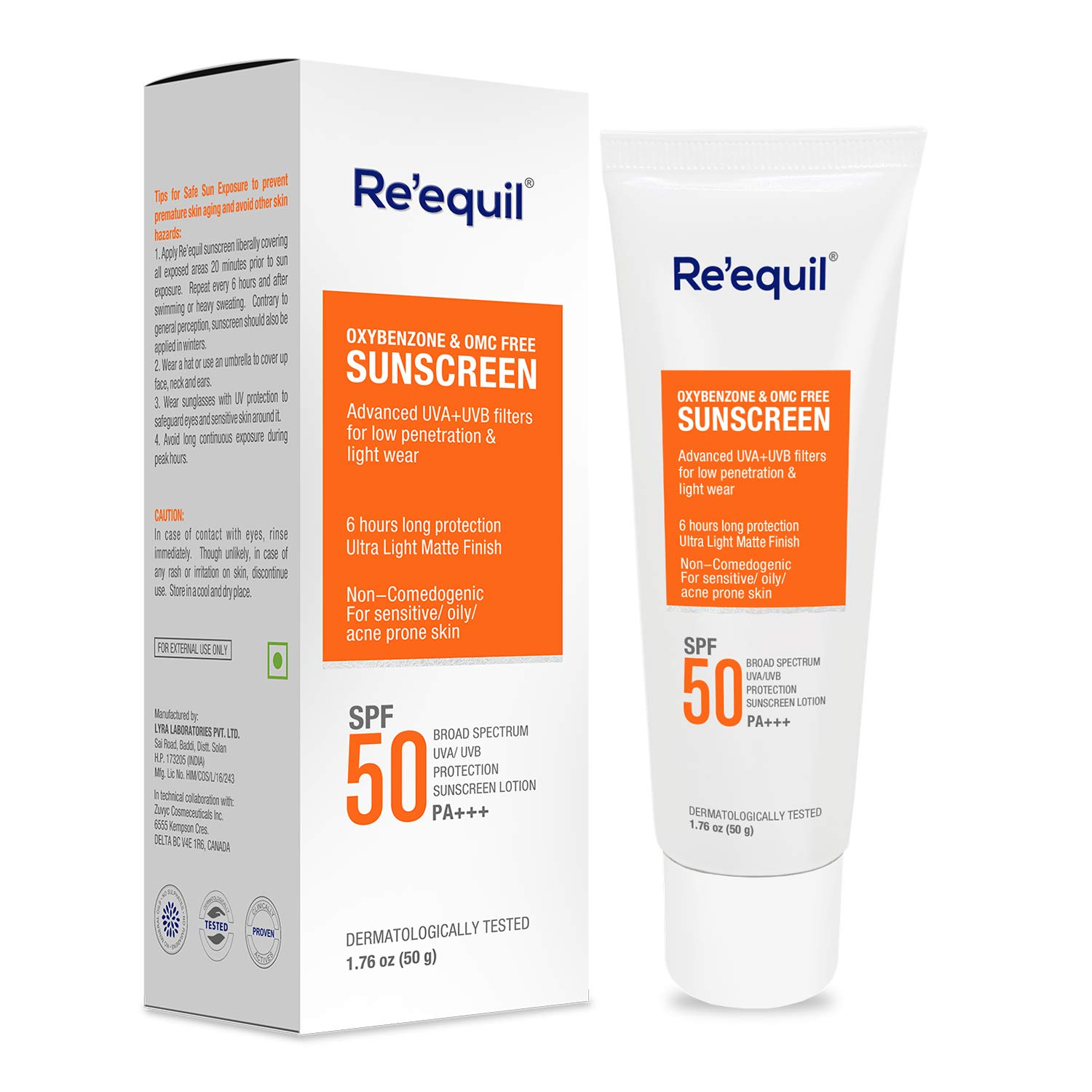 RE' EQUIL Oxybenzone and Zero-Omc Sunscreen for Oily, Sensitive and Acne Prone Skin, SPF 50 PA+++ - 50 g product image
