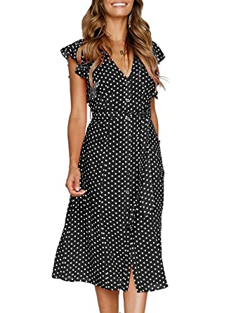 61bc71cfa19d Rainlover Women s Summer Boho Polka Dot Sleeveless V Neck Swing Midi Dress  at Amazon Women s Clothing store