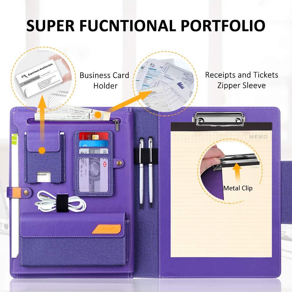 tasca per documenti Purple Padfolio portadocumenti Skycase porta biglietti da visita portadocumenti per intervista//conferenza//legale con portablocco in formato lettera//A4