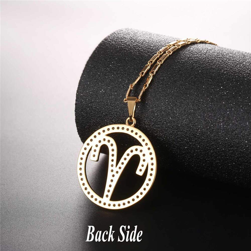 Metal Color: Gold Color Davitu New Zodiac Charms Aries Pendant Necklace Simple Design Jewelry Gift Rhinestone Gold//Silver Color Necklace for Men//Women P2503
