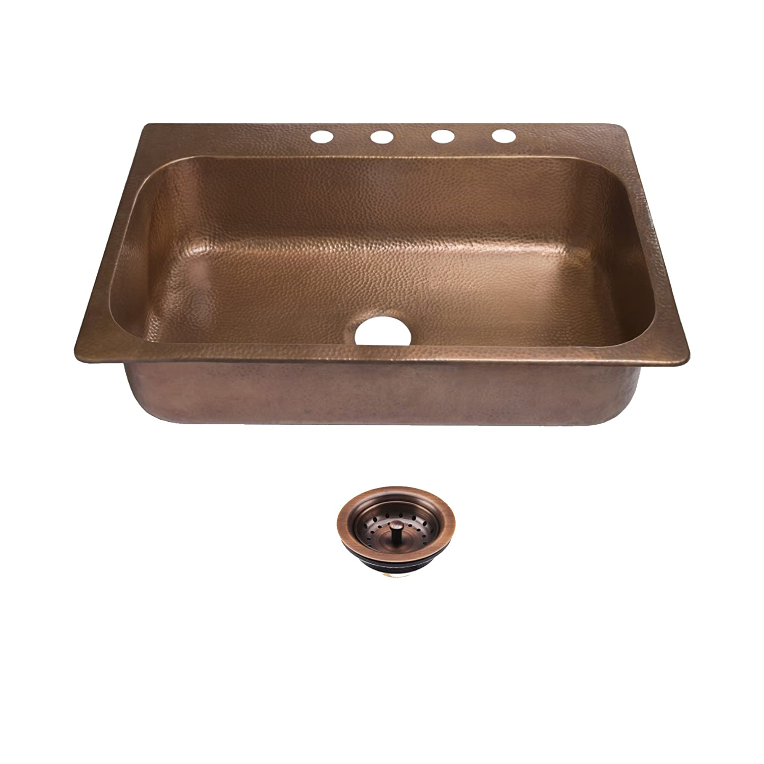 "Sinkology SK101-33AC4-AMZ-B Angelico 4-Hole Drop Kit with Strainer Drain Copper Kitchen Sink 33 x 22 x 8"", Antique"