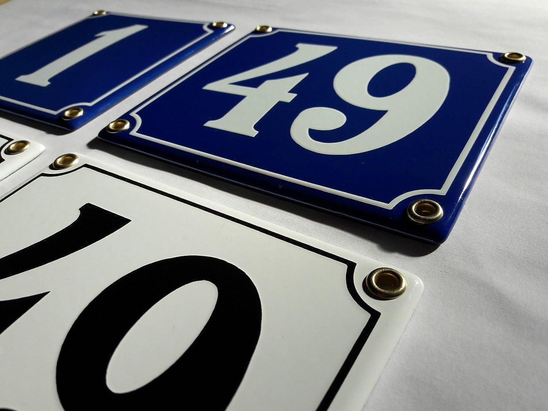 31 Blau-Wei/ßHandarbeit Hausnummer Emaille Schild Nr