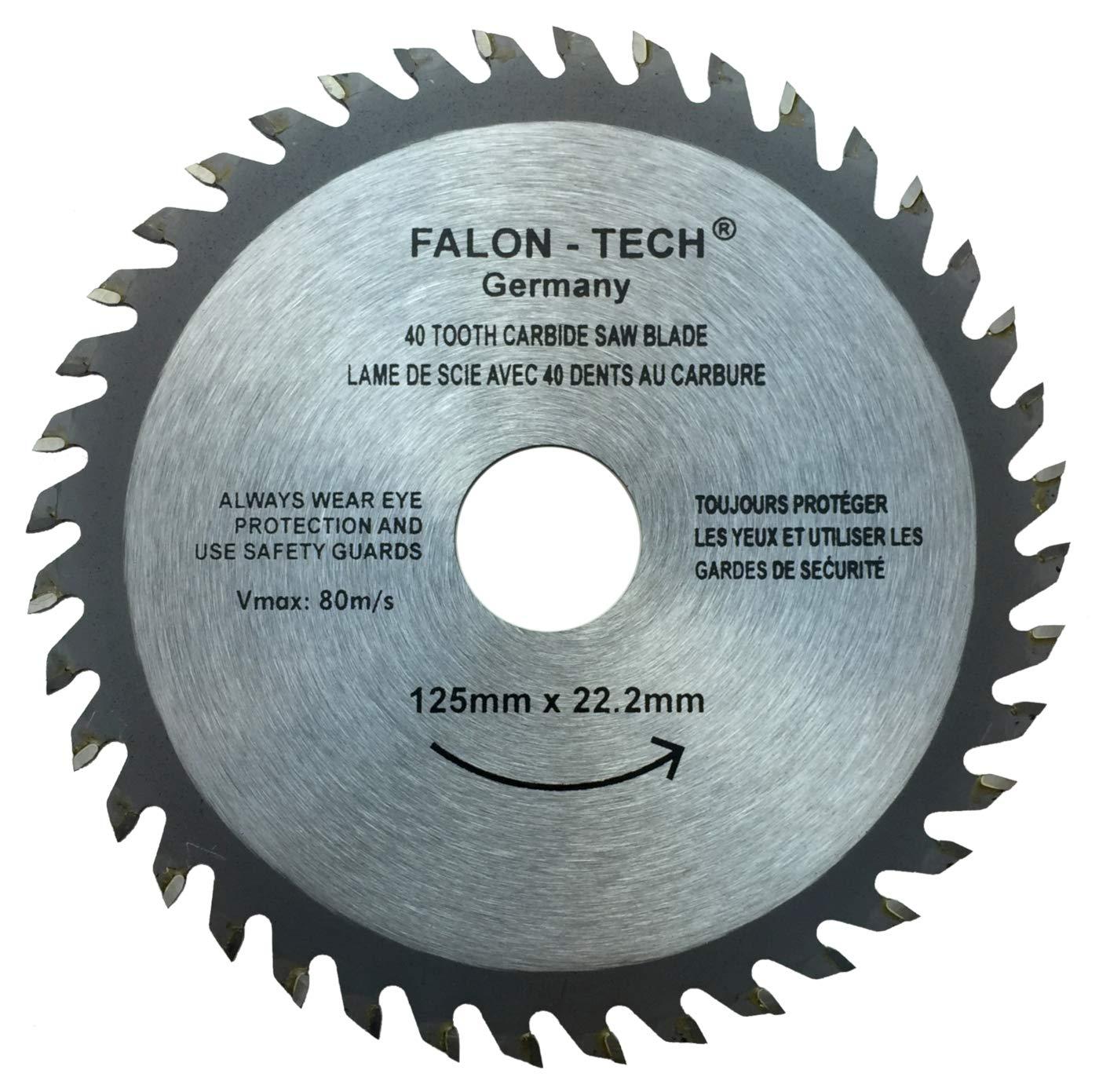 Falon Tech - Hoja de sierra circular para madera (125 mm, 40 dientes, 125 x 22 x 40 dientes)