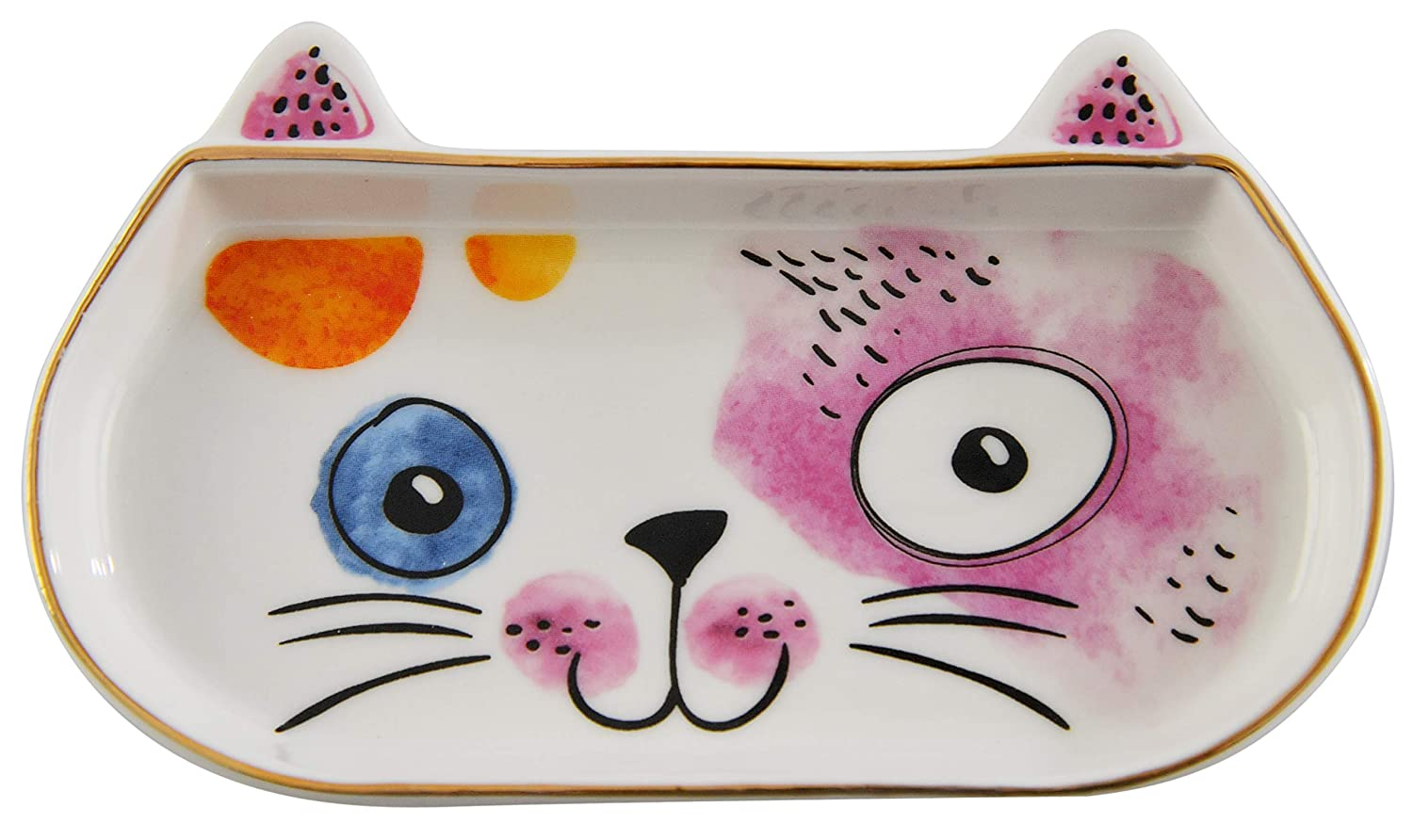 Home-X Cat Lover Ceramic Trinket Dish, Colorful Home Decor for Bedside Table, Jewelry Dish for Rings-Multicolor