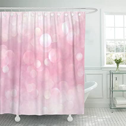 Emvency Shower Curtain Silver Sparkle White And Pink Abstract Bokeh Lights Defocused Glitter 72