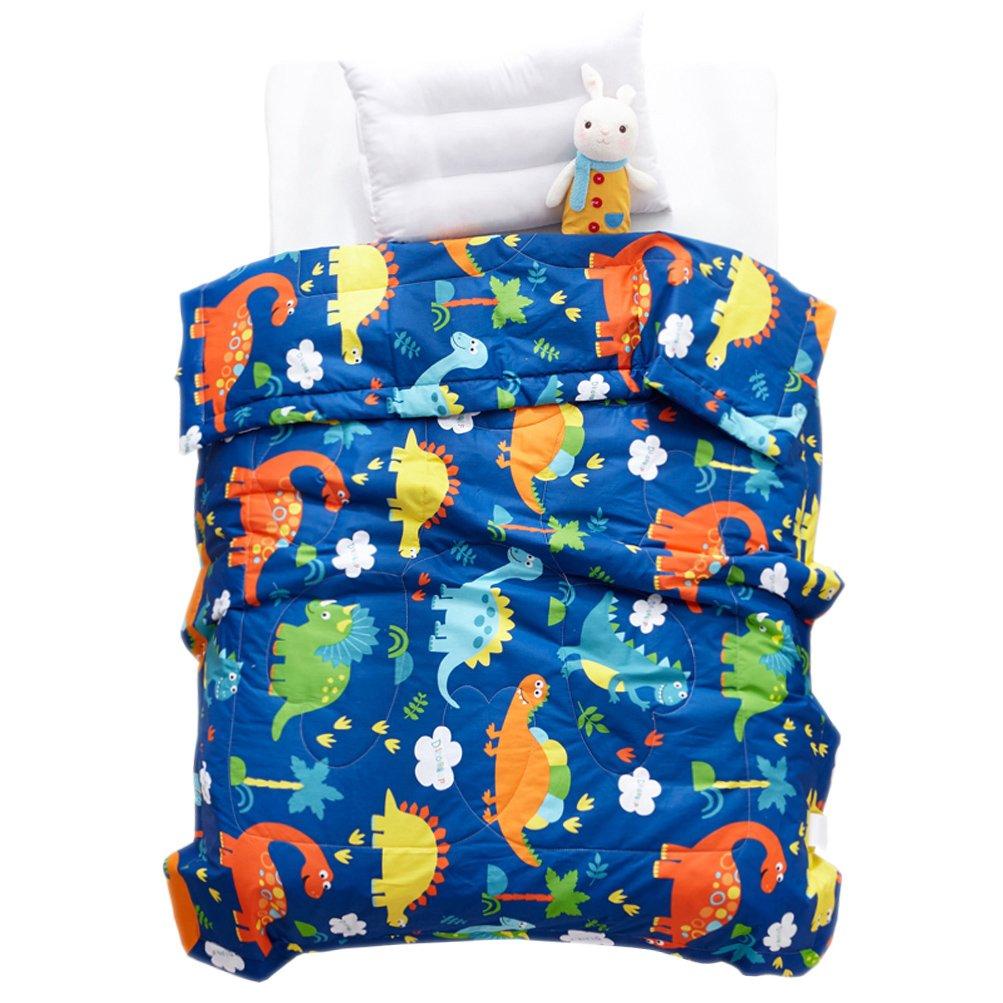 LIFEREVO Cotton Baby Toddler Blanket Spring Summer Quilt Fancy Cartoon Print Lightweight 43''x60'' Blue Dinosaur
